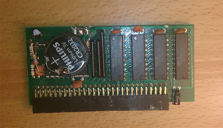 Amiga 500 trapdoor expansion with battery holder, top view